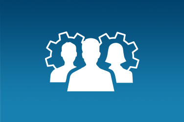 Icon of three silhouettes in front of gears